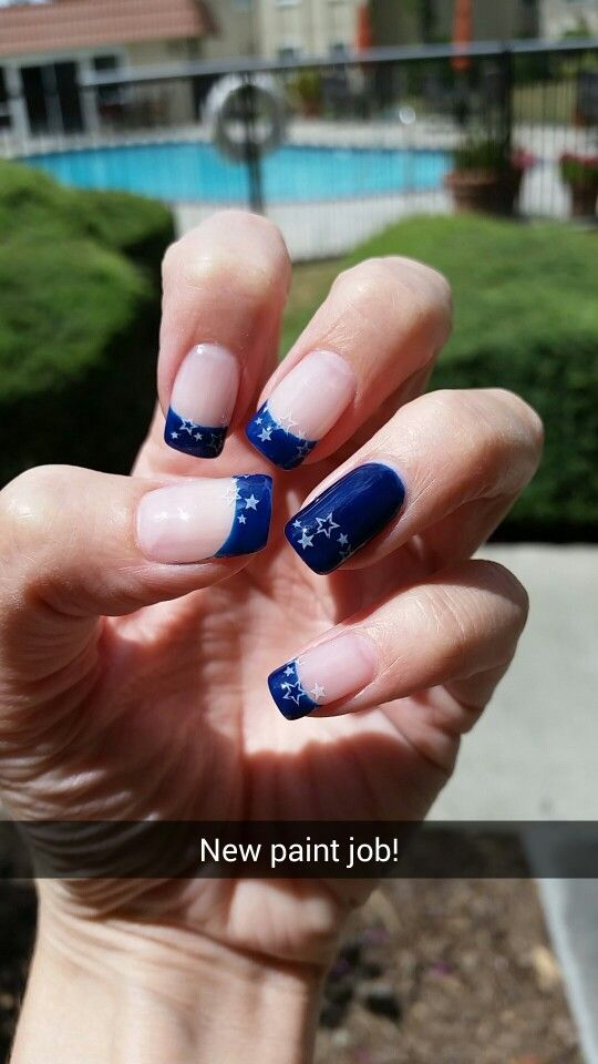 Blue nail tips with white stars by Julia #nails #nailart