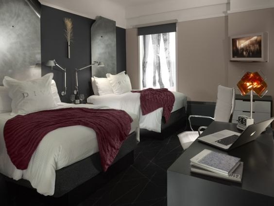 """""""Shades of gray and plum accents dominate the guest rooms' updated color palette"""" at the #HotelDiva in San Francisco"""
