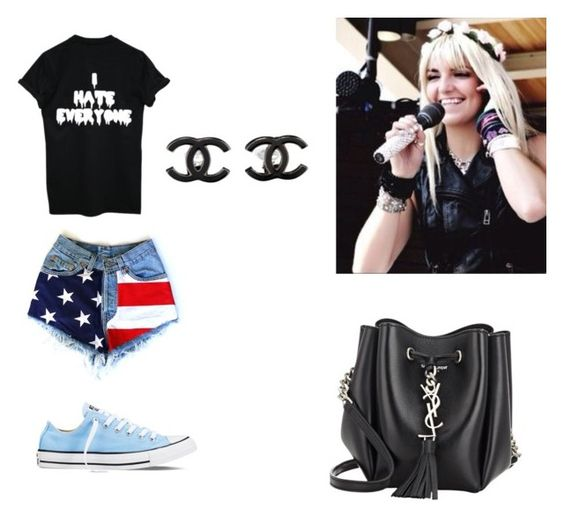 """Rydel Lynch Outfit"" by rydellightningstrikes ❤ liked on Polyvore featuring Converse, Yves Saint Laurent and Chanel"
