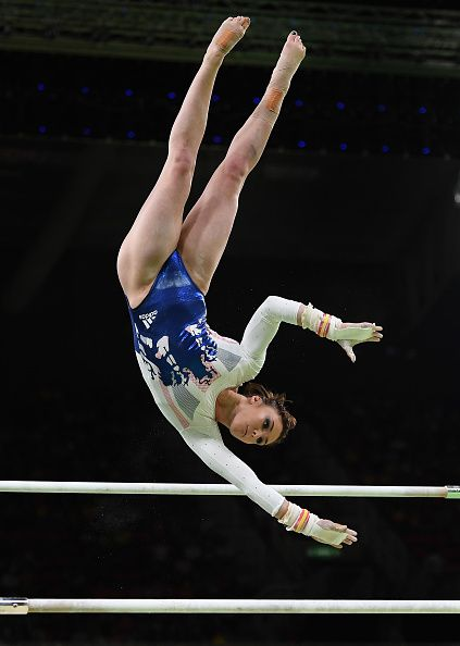 #RIO2016 Ruby Harrold of Great Britain in action on the uneven bars during the Artistic Gymnastics Women's Team Final on Day 4 of the Rio 2016 Olympic Games...