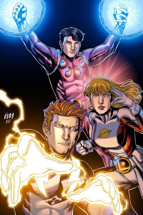 The Legion of Superheroes founding Members - Lightning Lad, Cosmic Boy and Saturn Girl