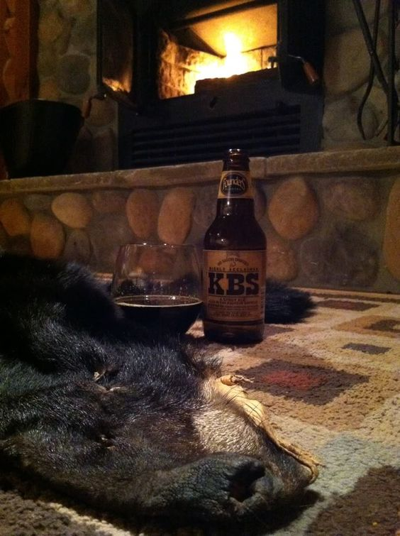 Bear Skin Rug And Fireplace #55 Have dinner...