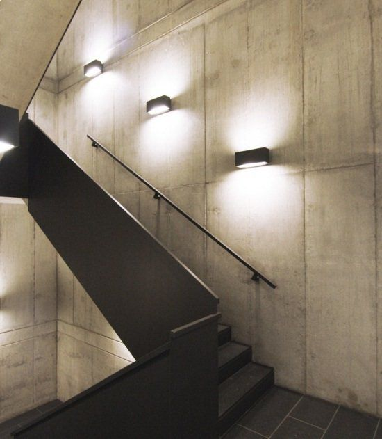 Wall Lights Highligh This Modern Stairwell Staircase Design