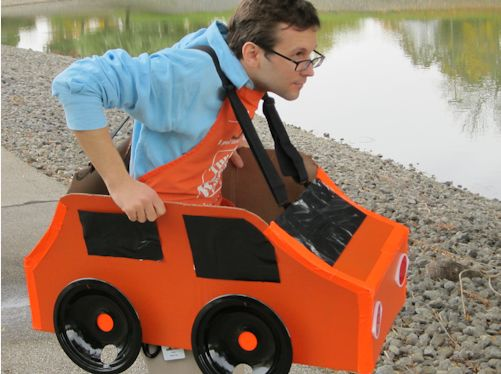 10 Ideas About Cardboard Box Cars On Pinterest: You Can Make This Adorable Car Halloween Costume With Some