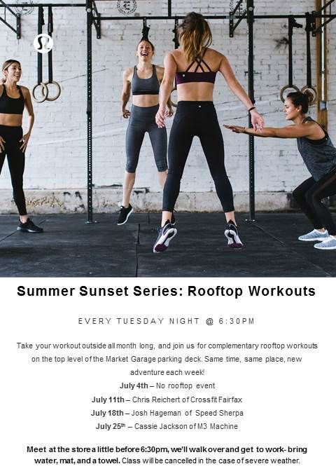 Rooftop Workout Series With Lululemon Mosaic A Carefully Curated Shopping Center Workout Orange Theory Workout Summer Workout