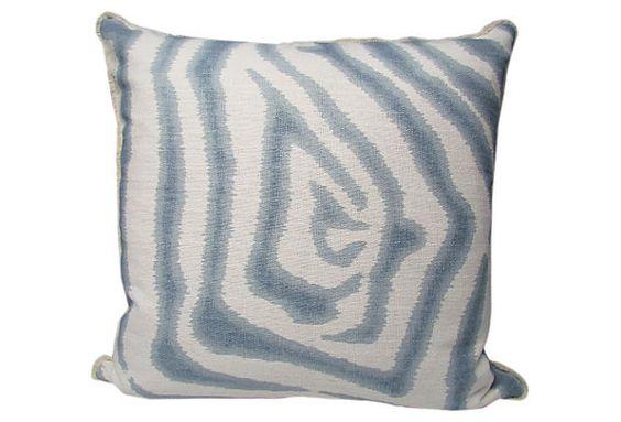 Zebra Ikat 20x20 Pillow, Spa on OneKingsLane.com