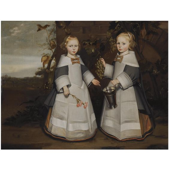 Delft School, 1654 A PORTRAIT OF YOUNG TWIN GIRLS, AGED 4, STANDING FULL-LENGTH, BOTH WEARING A GREY COAT WITH WHITE CUFFS AND COLLAR, WITH A WHITE APRON AND YELLOW STRIPED RIBBONS IN THEIR HAIR