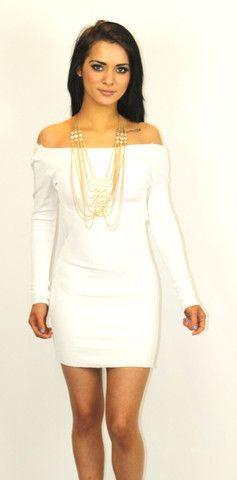 Bright white bandage dress,draped back & long sleeves