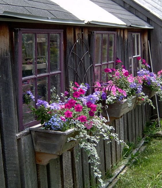 Love the rustic reclaimed wood look of the boxes garden shed art pinterest summer plants - Rustic flower gardens ...