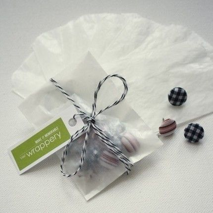 Love the glassine bag with twine and tag.