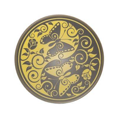 Yin Yang Butterflies, yellow & black Drink Coaster $9.95