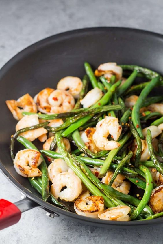 Shrimp and Green Beans in Chinese Garlic Sauce