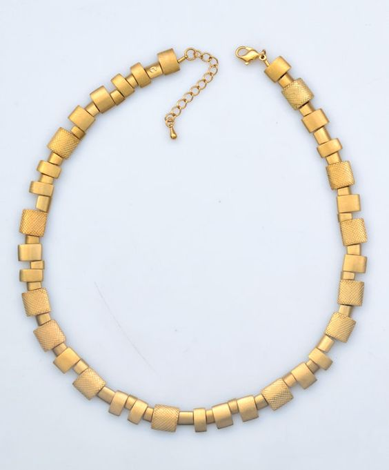 Heavy Style One of a Kind Women Necklace Plated with Gold or White Rhodium Handmade by Jennifer Love