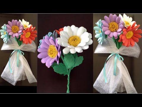 أسهل طريقه لعمل ورد بالفوم أعمال يدويه بالفوم بوكيه ورد لعيد الأم Margarida De E V A Sem Frisador Youtube Origami Envelope Origami Rose