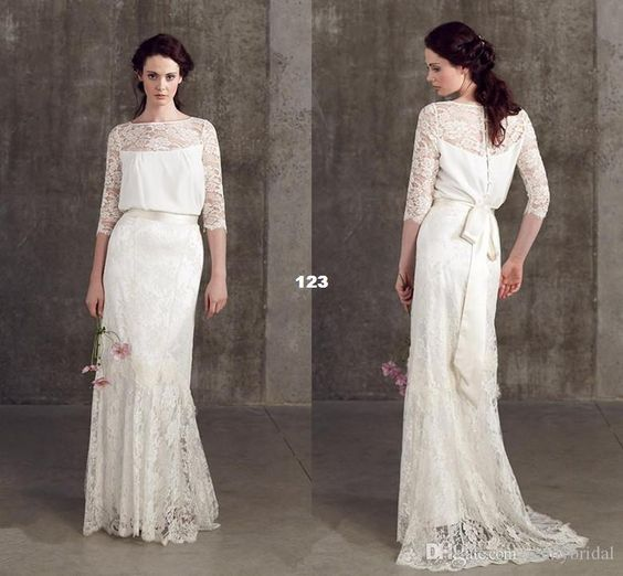 Vintage Wedding Dresses Lace 3/4 Long Sleeve Button Bateau Loose Sheer Wedding Gowns Dress for Garden Beach Wedding Sweep Wedding Dress 2015 Online with $170.91/Piece on Weddingdressgown's Store | DHgate.com