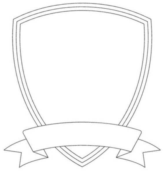 badge size template - badge outline shield template image vector clip art