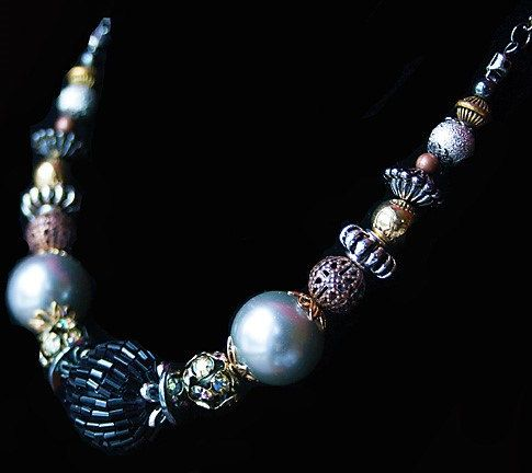 Handmade Black Necklace Black Beaded Necklace by GnidGnadDesigns
