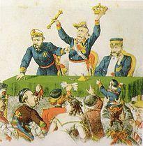 Prim, Serrano y Topete subastan los atributos del trono español durante la búsqueda de un nuevo rey. Publicado en La Flaca en abril de 1869.