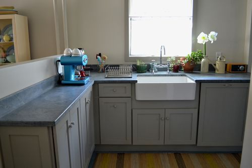 Shallow narrow counter cabinet for tight spaces kitchen for Cabinets for narrow spaces