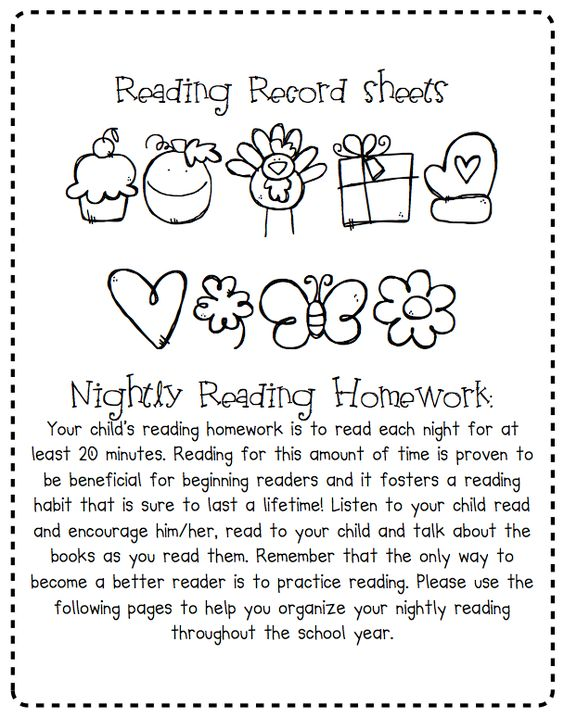 A Place Called Kindergarten: reading record sheets for homework ...