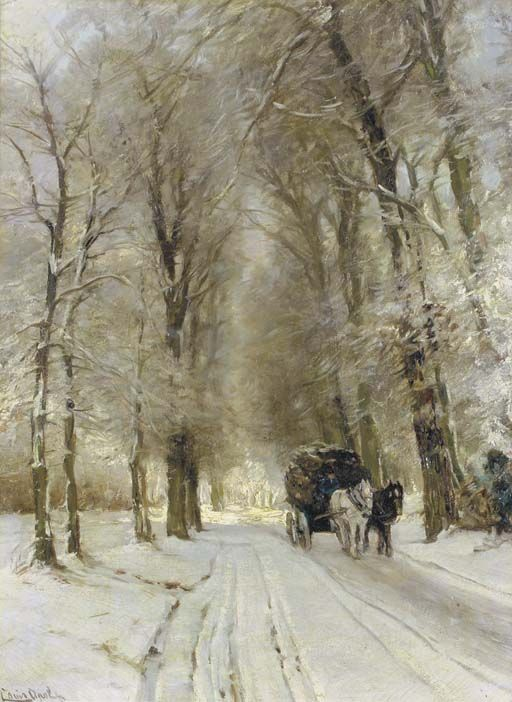 A horse drawn cart on a snowcovered forest track, Louis Apol. Dutch (1850 - 1936)