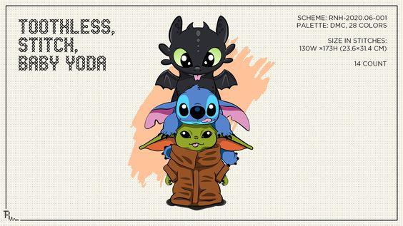 Cross Stitch Pattern Toothless Stitch Baby Yoda Toothless And Stitch Stitch Drawing Stitch Cartoon