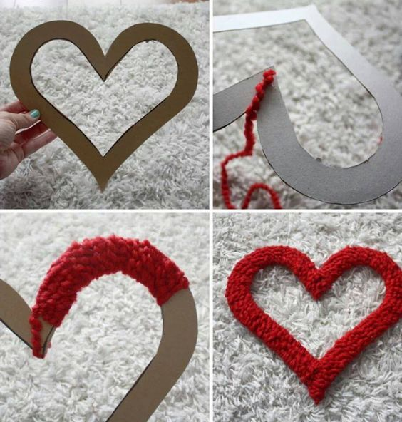 valentijn decoratie met wol - Google zoeken