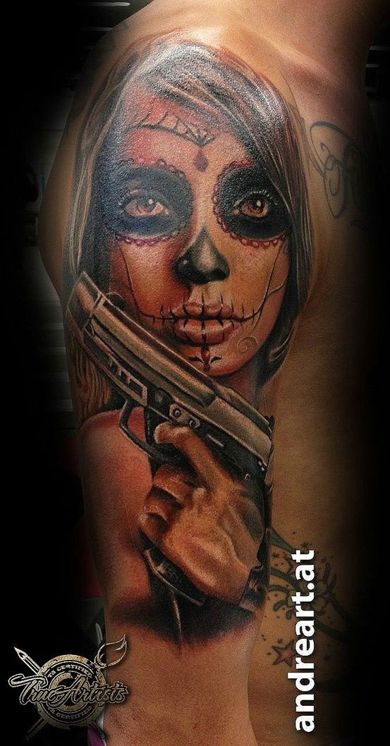 la catrina gun tattoo la catrina pinterest guns gun. Black Bedroom Furniture Sets. Home Design Ideas