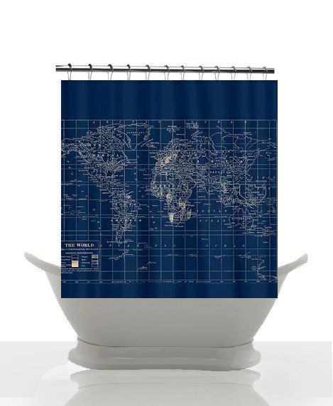 Decorative Map Shower Curtain