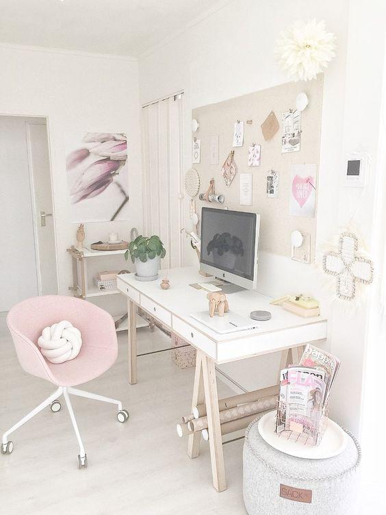 Bureau féminin, rose et blanc, pour Entrepreneuses
