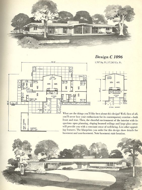 House plans 1960s homes vintage house plans repinned bu for 1960s floor plans