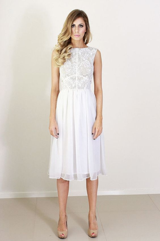 Katherine white lace and silk cocktail knee length dress | Gettin ...