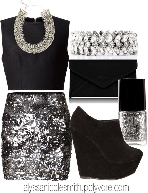 black and silver sparkly outfit