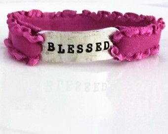 Stretchy Pink Ruffled Bracelet/Hand Stamped Blessed Cuff - Edit Listing - Etsy