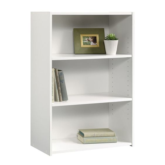 3 Shelf Bookcase Storage Bookshelf Wood Furniture Adjustable Shelving Book  White #Sauder #Modern