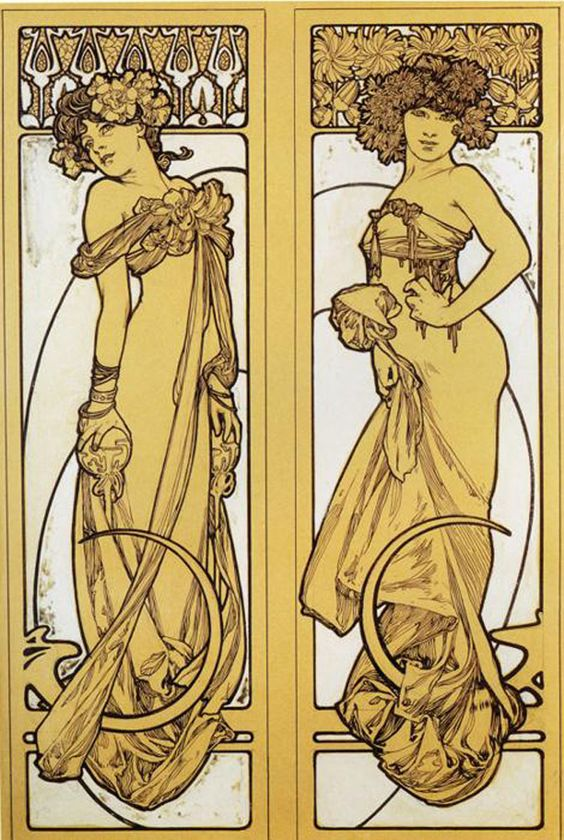 Mucha. Two standing woman.