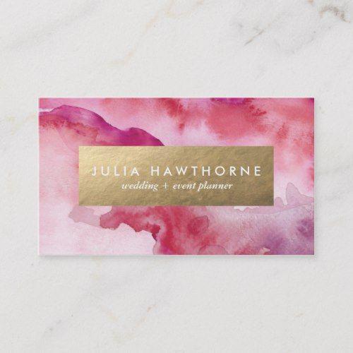 Pink Watercolor And Gold Faux Foil Business Card Zazzle Com Makeup Artist Business Cards Makeup Artist Business Cards Design Foil Business Cards