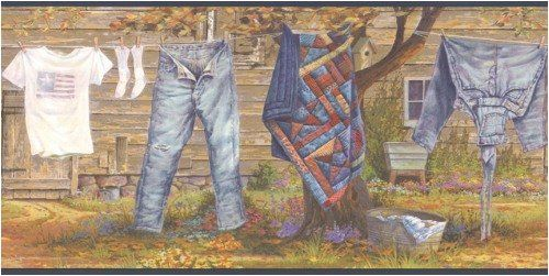Wallpaper Border Country Clothesline Quilt Jeans Socks Https Www Amazon Com Dp B001uciw98 Ref Cm Sw R Pi Dp U X I Wallpaper Border Laundry Lines Border