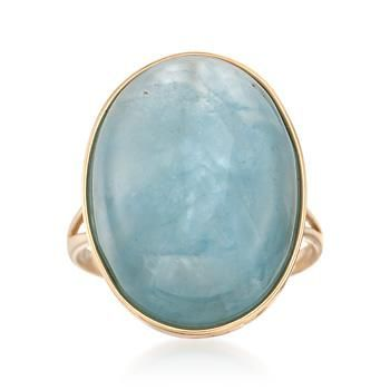 Ross-Simons - Aquamarine Cabochon Ring in 14kt Yellow Gold - #831662
