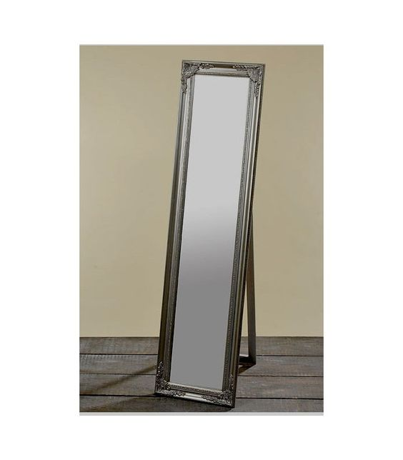 grand miroir sur pied en bois argent avec moulures - Miroir De Chambre Sur Pied