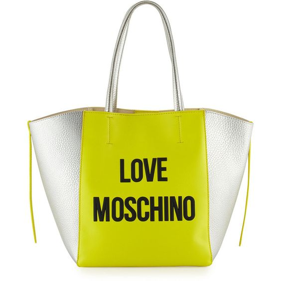Love Moschino Saffiano Leather Tote Bag ($137) ❤ liked on Polyvore featuring bags, handbags, tote bags, yellow, colorblock tote, color block purse, color block handbag, color block tote bag and yellow tote