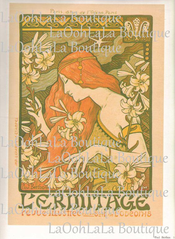 1897 L'Ermitage Digital Print Paul Berthon Art Nouveau French Poster Absinthe Lily Goddess Belle Époque Printable Download Graphic JPG Image