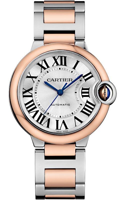 Ballon Bleu De Cartier 36 Mm 18k Pink Gold Steel Watch W2bb0003