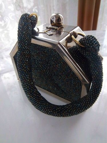 Vintage Art Deco Chrome Box Purse Carnival Glass Beaded Hand Bag Machineageretro | eBay
