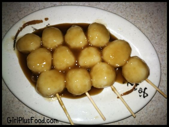 Japanese Kushi Dango with Sweet Shoyu Sauce! (just like i used to have when i was a little girl in japan... yumyum!!)