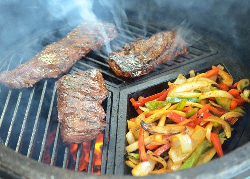 Fajitas on a kamdo grill