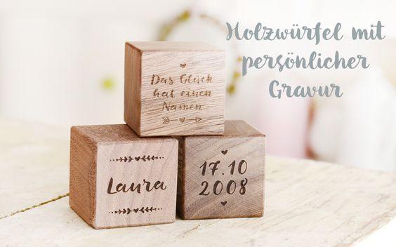 Personalisierte Holzwürfel mit Gravur