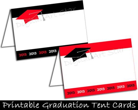 Graduation DIY Printable Place Cards Tent Cards by digitalartstar ...