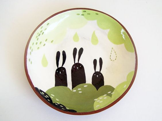 Ceramic Plate - Terracotta Plate - Pottery Plate - Three Bunnies - MADE TO ORDER by susansimonini. #etsy $53.01