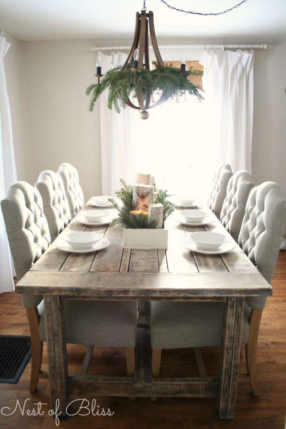 Christmas tour farmhouse table with birch candles dining room pinterest rustic chair - Birch kitchen table ...